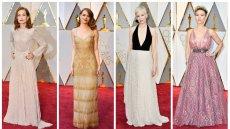 Oscarowe kreacje, od lewej: Isabelle Huppert, Emma Stone (tegoroczna laureatka Oscara dla najlepszej aktorki pierwszoplanowej), Michelle Williams i Scarlett Johansson