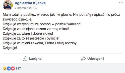 """Agnieszka Kijanka wyraziła swą wdzięczność na facebookowej grupie """"Poszukujemy Piotra Kijanki"""""""