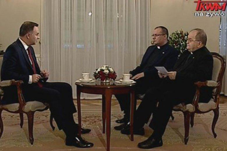 Podczas wywiadywania prezydenta Andrzeja Dudy ojciec Rydzyk nie omieszkał zadbać o swoje interesy