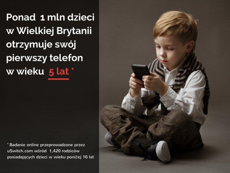 Ponad 1 mln dzieci w Wielkiej Brytanii otrzymuje swój pierwszy telefon w wieku 5 lat