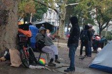 Prowizoryczny obóz uchodźców w parku w Belgradzie.