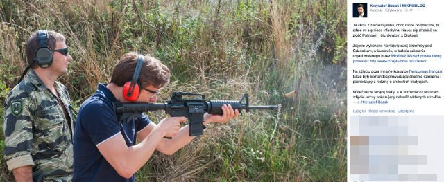 Krzysztof Bosak pochwalił się na Facebooku zdjęciami wykonanymi na strzelnicy