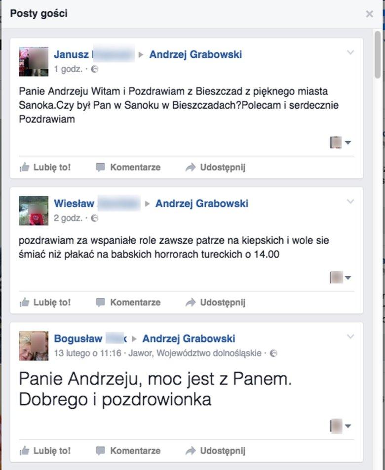 Wpisu na profilu Andrzeja Grabowskiej na Facbooku