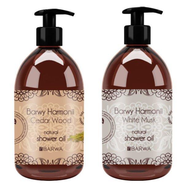Olejki pod prysznic Barwy Harmonii mają konsystencje oleju, który w kontakcie z wodą zamienia się w delikatną piankę.