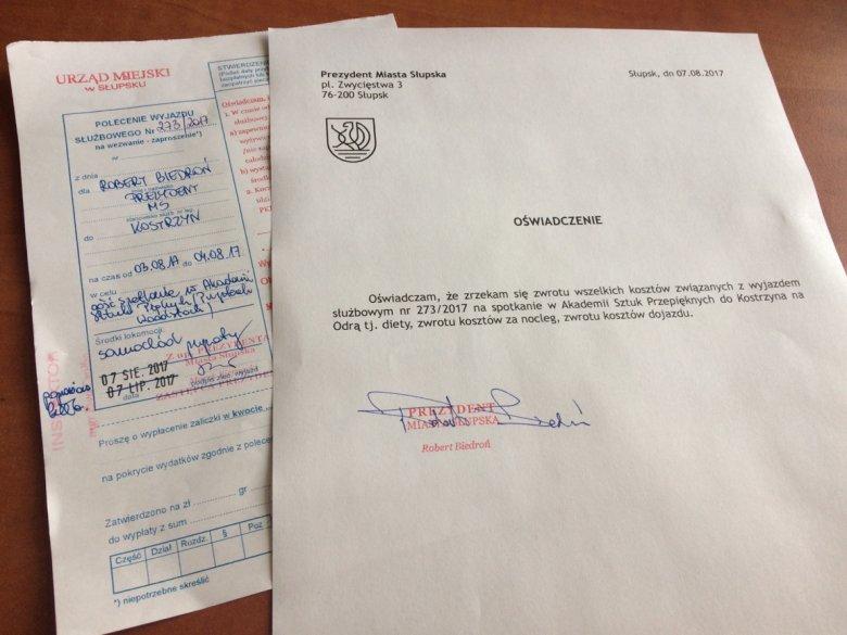 Oto dokument potwierdzający, że miasto Słupsk nie poniesie żadnych kosztów w związku z wizytą prezydenta Roberta Biedronia na Przystanku Woodstock.