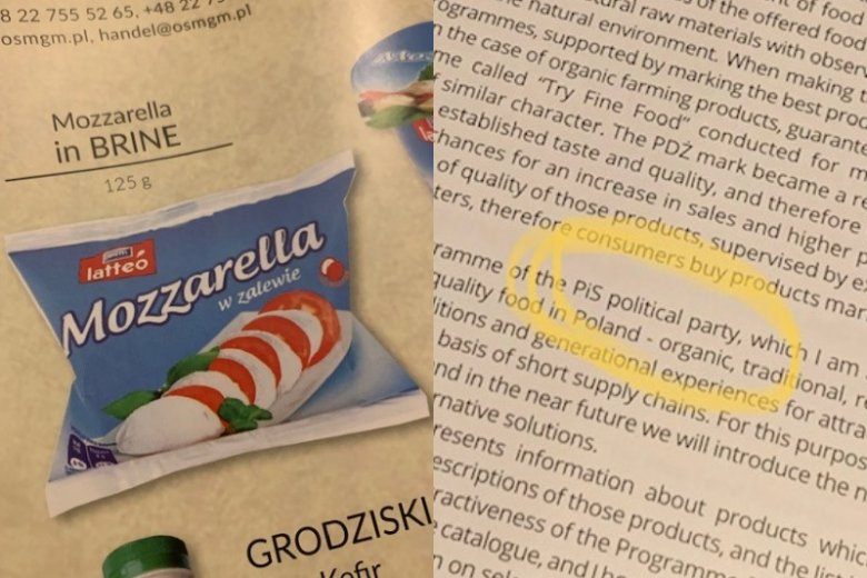 W polskim katalogu znalazła się m.in. mozarella.