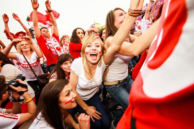 Warszawscy kibice podczas meczu Polska-Rosja w rozgrywkach Euro 2012