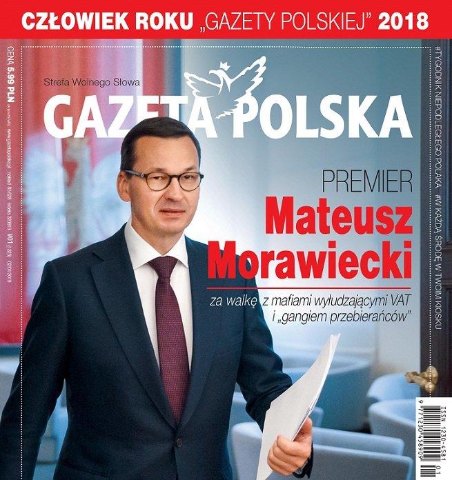 """Okładka """"Gazety Polskiej"""". Mateusz Morawiecki już trzeci raz z rzędu został Człowiekiem Roku."""