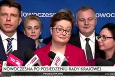 Konferencja prasowa Nowoczesnej, Ryszard Petru nie dopuszcza do głosy Kamili Gasiuk-Pihowicz.