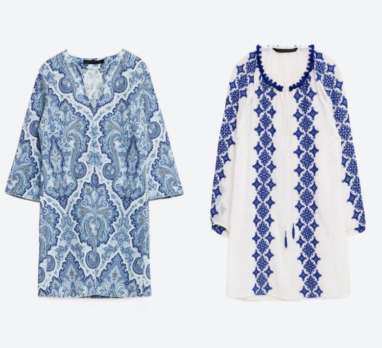 Dwie orientalne tuniki z Zary w odcieniach bieli i błękitu. Haftowana - 199 zł, wzorzysta - 139 zł