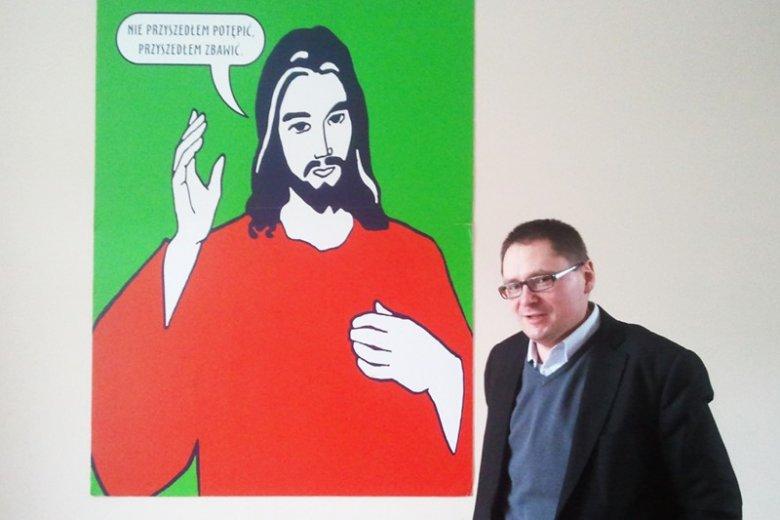 Tomasz Terlikowski w redakcji serwisu Fronda.pl