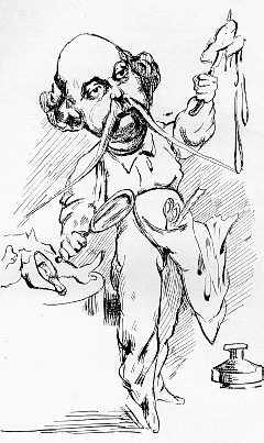 Flaubert preparuje Madame Bovary. Karykatura autorstwa A. Lemota, 1869
