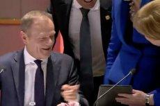 Angela Merkel pokazała na tablecie coś, co rozśmieszyło Theresę May i Donalda Tuska.