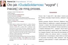"""Hanna Lis prostuje informacje szefa """"Solidarności"""" Piotra Dudy"""