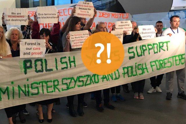 Przyjechali, aby wesprzeć ministra Szyszkę. To, co napisali na transparencie, wywołało tylko rozbawienie.