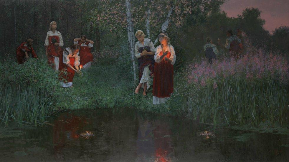 Obraz Simona Leonidovitcha Kozhina, współczesnego malarza rosyjskiego, przedstawiający obchody Nocy Kupały