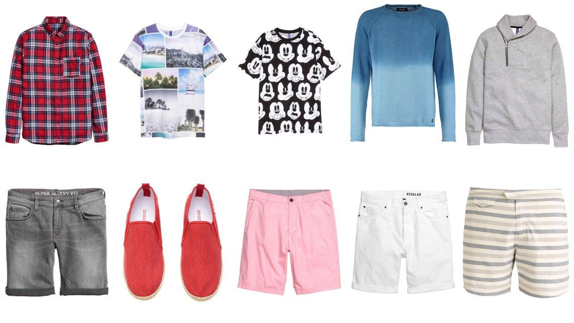 koszula, H&M, 79,90, t-shirty H&M, 39,90, sweter Only&Sons, 89,50, bluza z szalowym kołnierzem, H&M 99,99, szorty jeansowe H&M, 79,90, czerwone espadryle H&M 39,90, różowe szorty H&M 39,90, białe szorty H&M 99,99, szorty w paski Pier One 64 zł