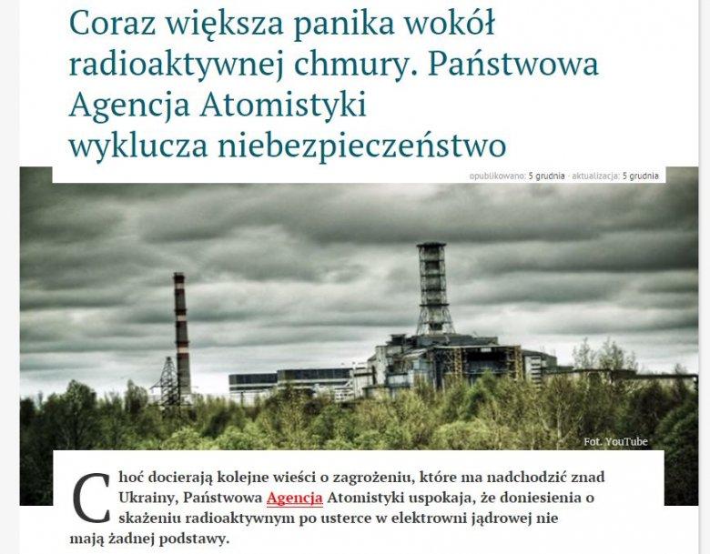 Brak podstawy brakiem podstawy, ale ładne zdjęcie z Czarnobyla nie zaszkodzi