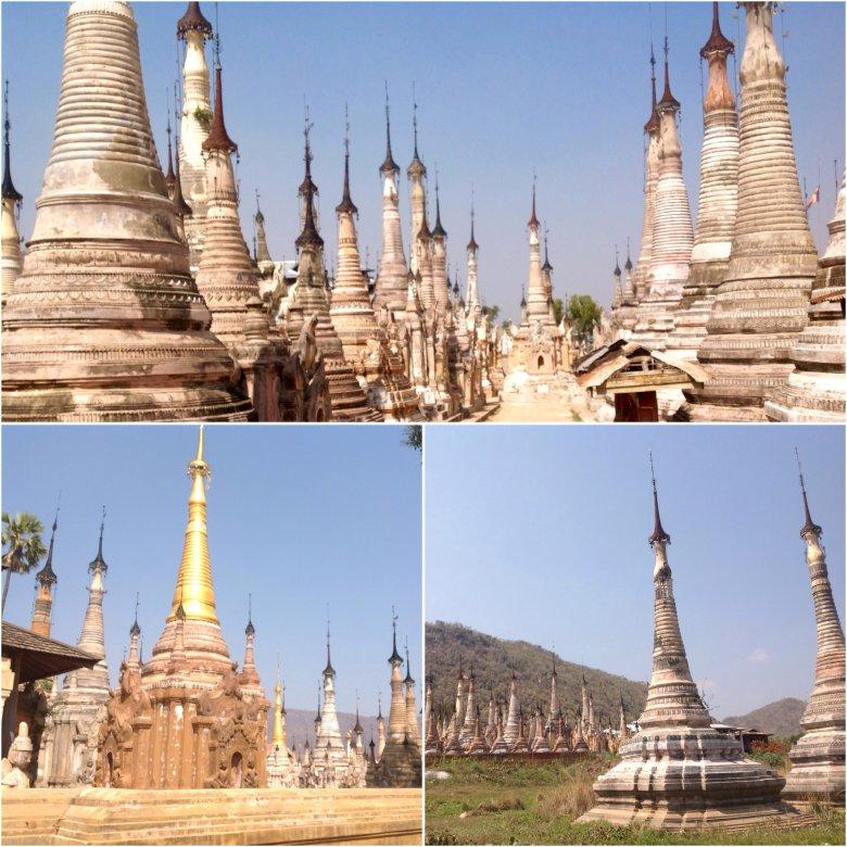 Kompleks świątynny w Indein nad jeziorem Inle/Birma