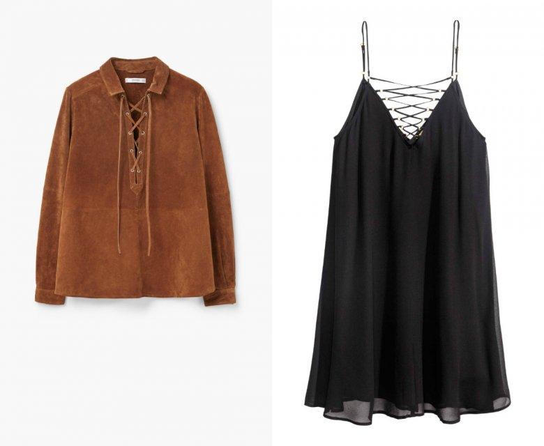 Czarna halko-tunika - H&M 149, 90 zł, zamszowa bluzka dla Indianek i fashionistek - Mango 199,90 zł (przeceniona z 299, 90)