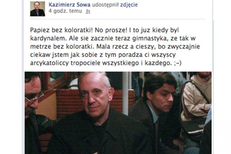 Nowy papież Franciszek. Fragment dyskusji na Facebooku
