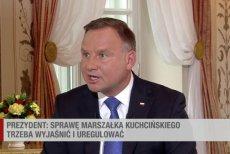 Prezydent Andrzej Duda w Polsat News o prywatnych lotach marszałka Kuchcińskiego