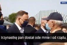 Andrzej Duda stwierdził w Garwolinie, że 13. emeryturę jego rozmówca dostał od niego i rządu.