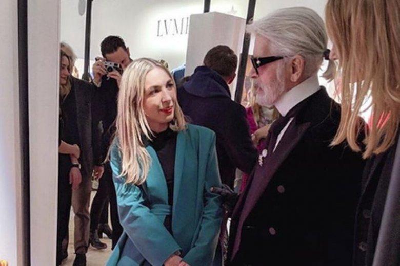 Marta Jakubowski z Karlem Lagerfeldem