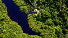 Widok na Amazonię z lotu ptaka. Tutaj jeszcze nic nie płonie.