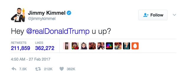 Prowadzący galę Jimmy Kimmel zaczepia na twitterze prezydenta Stanów Zjednoczonych