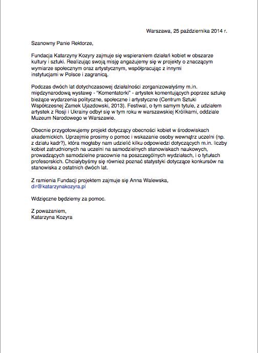 Treść listu wysłana do rektoratów