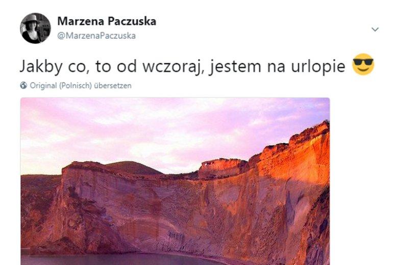 """Kontrowersje wokół urlopu Marzeny Paczuskiej nie kończą się na spekulacjach o jej odwołaniu. Spore emocje wywołał też ten """"urlopowy"""" wpis na Twitterze."""