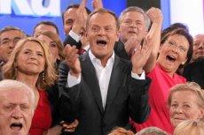 Od lewej: Małgorzata Tusk, premier Donald Tusk, Ewa Kopacz. Zdjęcie z października 2011 roku, radość PO po wygranych wyborach parlamentarnych
