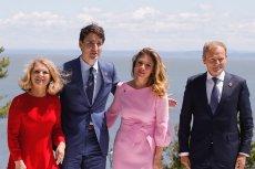 Donald Tusk i premier Kanady Justina Trudeau wraz z małżonkami przed szczytem G7.