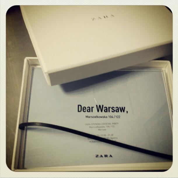 Zaproszenie na wydarzenie Dear Warsaw ZARA Opening