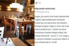 Właściciel Restauracji PUI' w odpowiedzi na opinię jednego z internautów.
