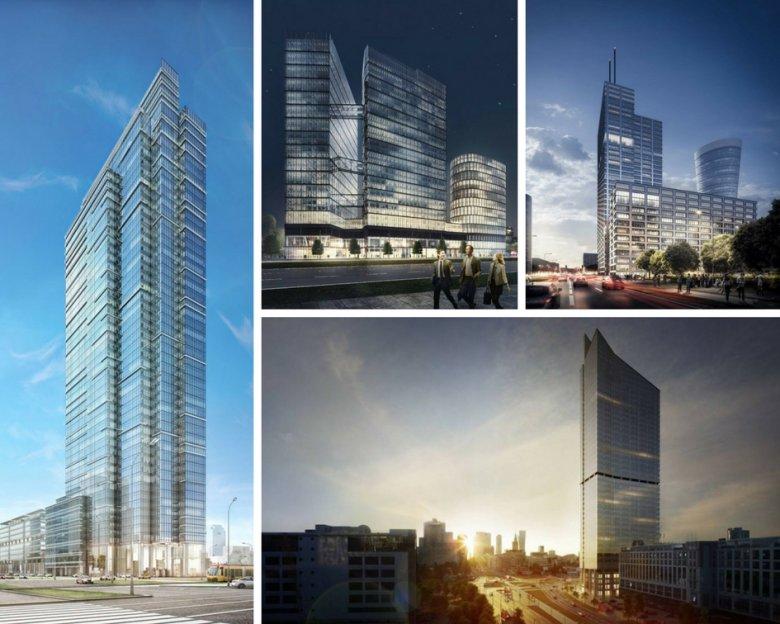 Wizualizacje poszczególnych wieżowców. Po lewej Spinnaker, u góry od lewej The Warsaw Hub, Generation Park, a na dole Skyliner.