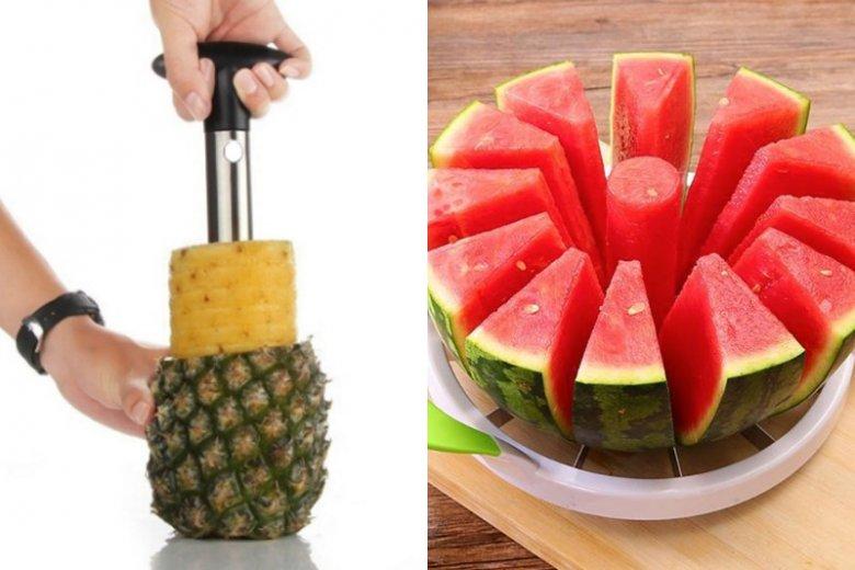 """Możemy zapomnieć o zmaganiach z obieraniem ananasa. Teraz w kilka minut podzielimy go na idealne plastry, bez konieczności """"obrywania go ze skóry"""". Cena: ok. 12.62 zł (krajalnica do ananasa), 31 zł (krajalnica do arbuza)"""