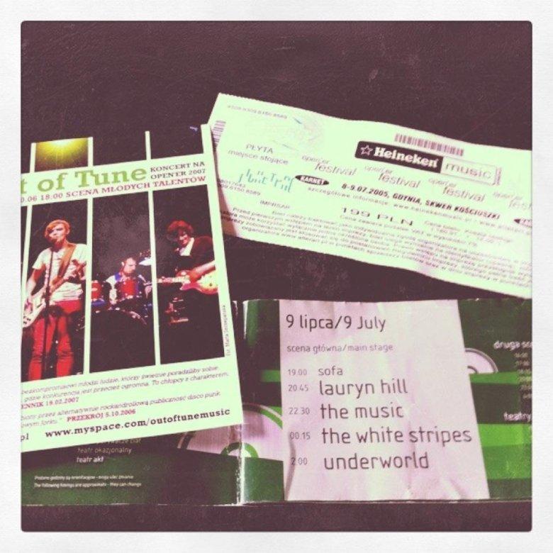 bilet (cena 199 PLN!!!) i książeczka z Open'era 2005 oraz ulotka promująca koncert Out of Tune w 2007 roku