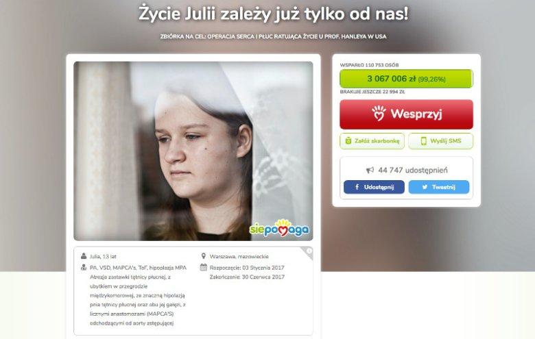 Do pełnej sumy na koncie 13-letniej Julii brakuje już bardzo, bardzo niewiele.