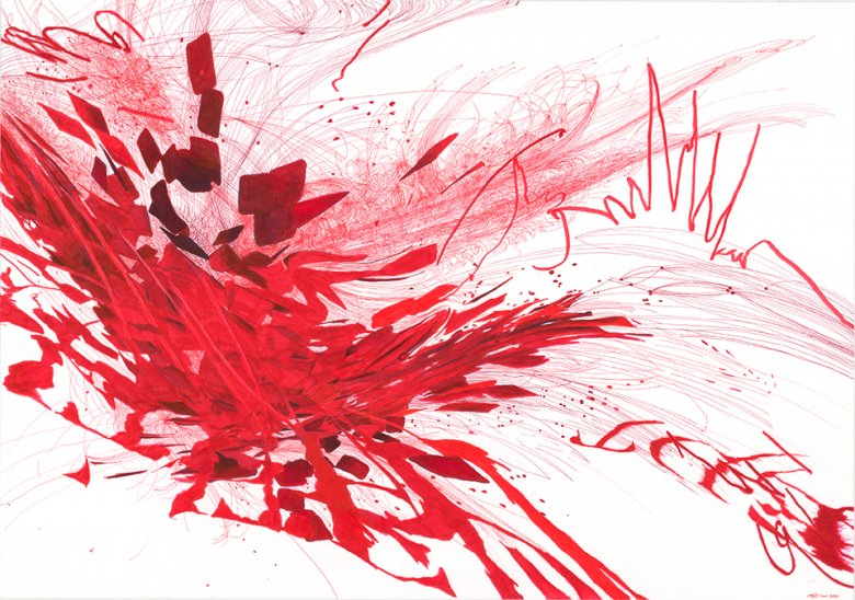 The Fall of Erythrocytes. 100 x 70 cm, 2014,  marker  i cienkopis na papierze