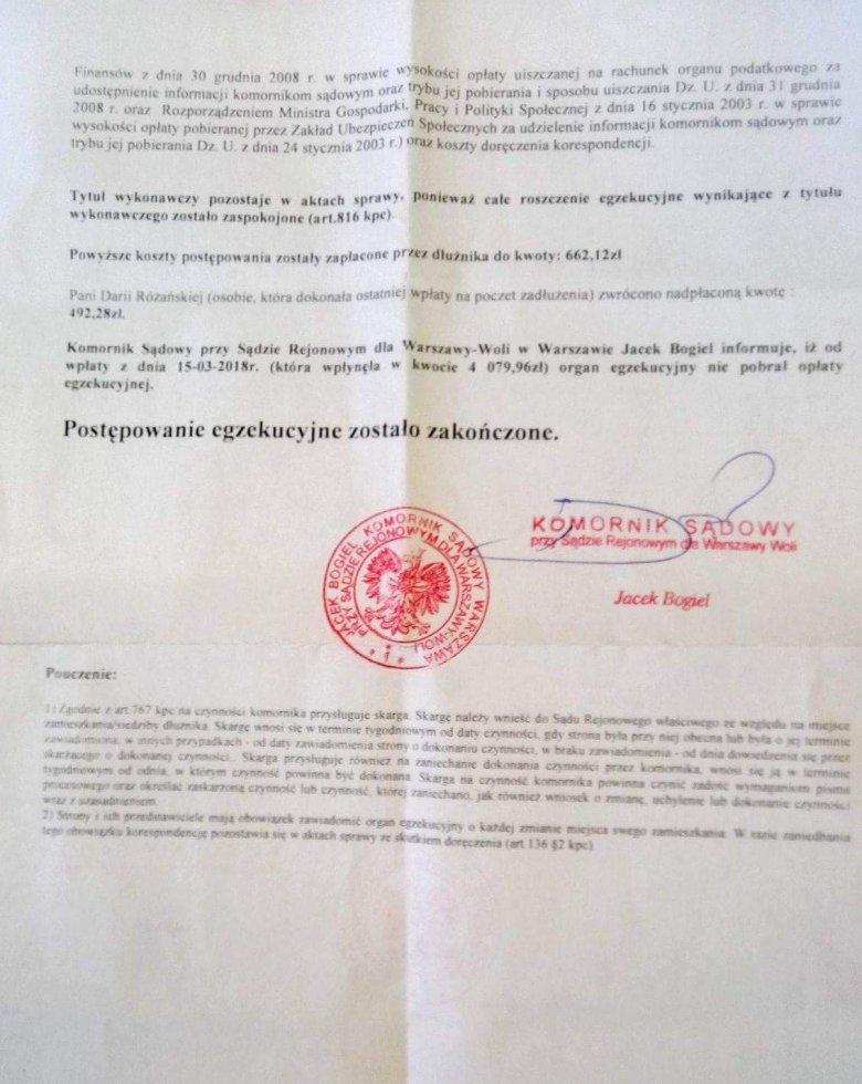 Komornik Jacek Bogiel 19 marca wysłał pani Marii pismo informujące o  braku zadłużenia.