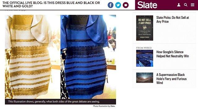 Portal Slate postanowil pobawic sie troche odcieniami i kontrastami, aby zademonstrować, jak różni ludzie mogą widzieć tę samą sukienkę.