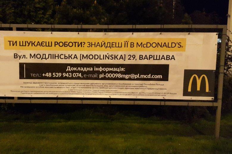 Stołeczny McDonald's przy ulicy Modlińskiej mówi jasno, że swoją ofertę pracy kieruje również do Ukrainek i Ukraińców.