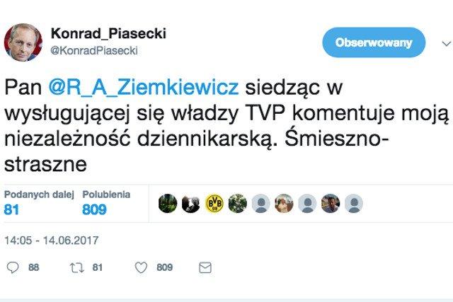 Konrad Piasecki skomentował na Twitterze program TVP, Rafał Ziemkiewicz odpowiedział i... tak się zaczęła kłótnia.