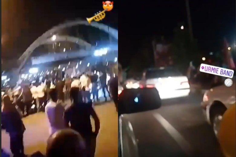 Kibice z Iranu świętowali zwycięstwo pod halą w Urmii.