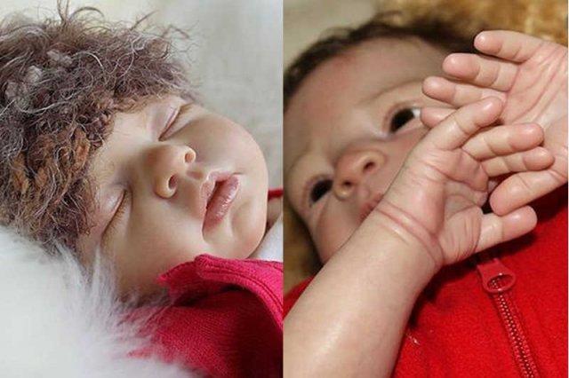 Dobrze wykonanej lalkę Reborn na zdjęciu nie można odróżnić od prawdziwego dziecka.