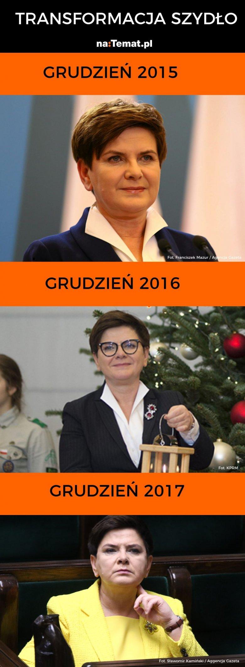 Tak zmieniała się premier Szydło od objęcia rządów do dnia dymisji.