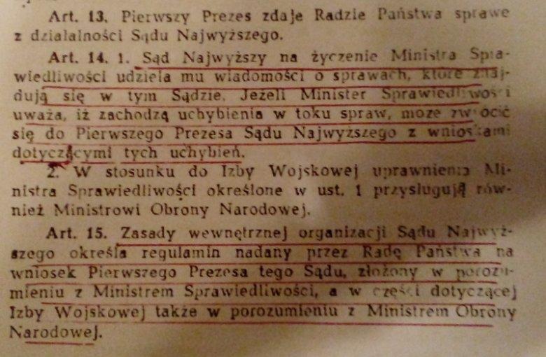 Fragment ustawy o Sądzie Najwyższym z 15 lutego 1962 r. Te artykuły wskazują, jak bardzo SN jest zależny od ministra sprawiedliwości i Rady Państwa.