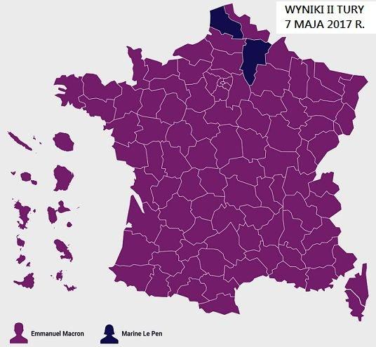 Emmanuel MACRON - 43,63% uprawnionych do głosowania, 66,10% głosów ważnych; Marine LE PEN - 22,38% uprawnionych do głosowania, 33,90% głosów ważnych
